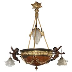 Rare Mid Century Chandelier with Alabaster Center Shade & 3 Bronze Putti Sculptures
