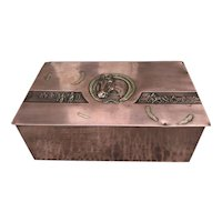 Quality polished copper Arts & Crafts Box by Josef Steiner, Horse Theme