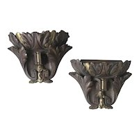 Antique Pair Hand-Crafted Wooden Acanthus Leafs Wall Brackets