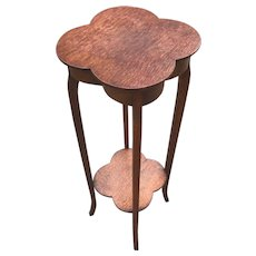 Rare Solid Oak, Flower or Plant Stand / Table with Stylized Clover Leaf Top