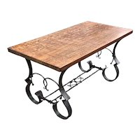 Unique Coffee Table with Oak Top & Wrought Iron Hand Forged Base