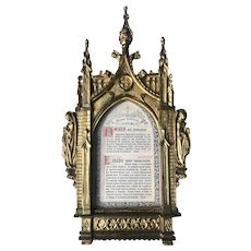 Antique Bronze Gothic Revival Picture Frame with Angel Sculptures