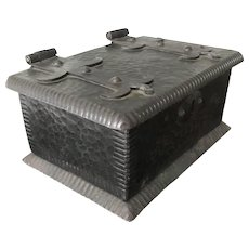 Arts & Crafts Hand Hammered Wrought Iron Box