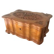 Hand-Carved Black Forest Jewelry Box with Edelweiss Flowers