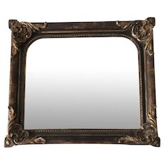 Antique 18th Century Baroque Style Carved Gilded Oak Wall Frame with Mirror