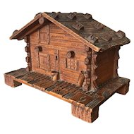 Antique Hand Carved Swiss Black Forest Chalet Cigar Box