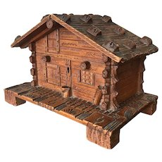 Antique Hand Carved Swiss Black Forest Chalet Cigar Box