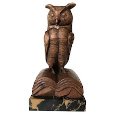 Antique Carved Wooden Owl Sculpture, Marble Base
