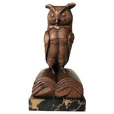 Antique Carved Wooden Owl Sculpture, Marble Base