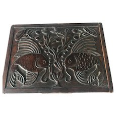 Rare 1920s Arts and Crafts Carved Wooden Box Siamese Fighting Fish