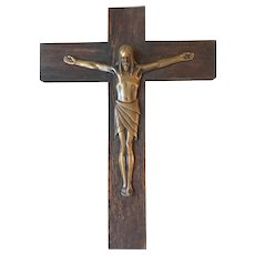 Antique  Quality Bronze & Wooden Wall Crucifix