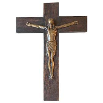 Antique  Quality Bronze Wooden Wall Crucifix
