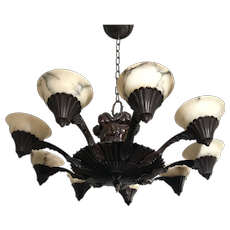 Art Deco Fine Bronze and Alabaster Nine-Light Sculpture Chandelier