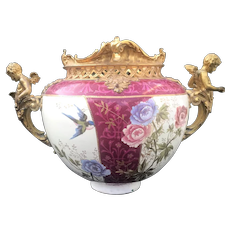 Royal Bonn Ormolu Gilded Metal Porcelain Jardiniere Vase, Flowery Decor