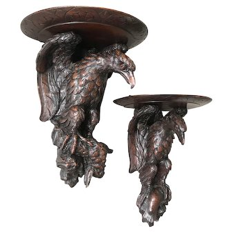 Antique Large Pair Carved Eagles with Pray Wall Brackets, Shelf, Set