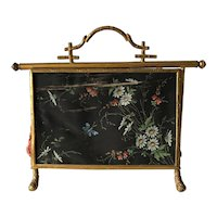 Rare Antique French Jewelry Bag / Box w. Gilt Bamboo Mounts