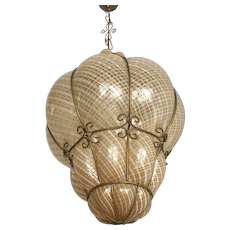 XXL Antique Venetian Mouth Blown Glass in Metal Frame Pendant Light