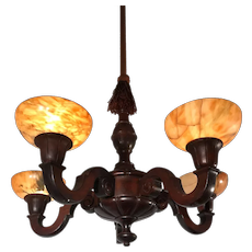 Art Deco Five Light Quality Carved Wood Pendant Light w. Alabaster Shades
