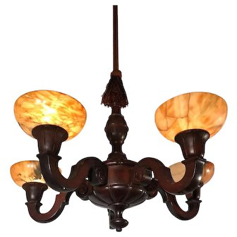 Art Deco Five Light Quality Carved Wood Pendant Light w. Alabaster Shades