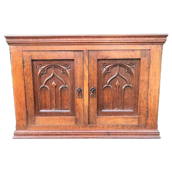 Great Hand-Crafted Gothic Revival Hanging Wall Cabinet
