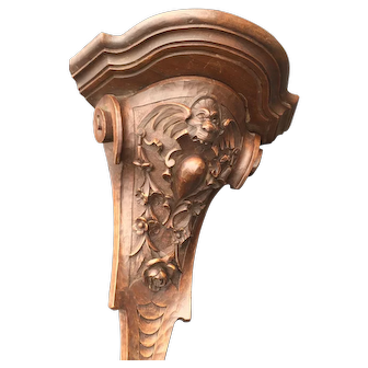 Rare Carved Corner Wall Bracket, Shelf or Console with Bat Sculpture