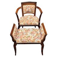 Early 1900 Italy Bedroom Armchair with Stool Set with Floral Design Upholstery