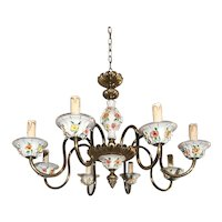 Stunning Brass and Porcelain Light Chandelier with Flowery Design