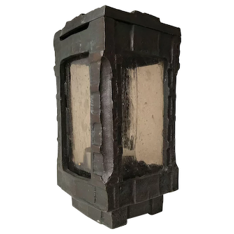 Art Deco Bronze & Glass Candle Stand Tomb Outdoor Wind Lamp