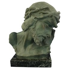 Antique Marked Christ Bust on a Marble Base