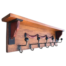 Art Deco Solid Oak Wood Coat Rack with Shelf