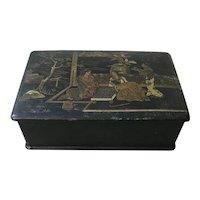 Antique Chinoiserie Paper Mache Lacquer Jewelry Box