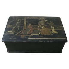 Antique Chinoiserie Paper Mache Lacquer Jewelry Box