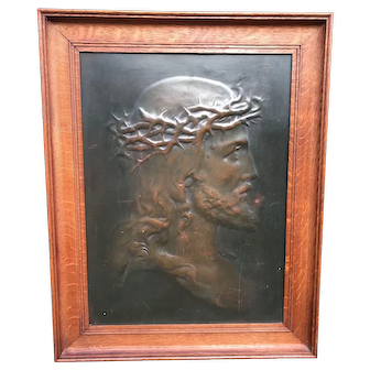 Early 1900 Art Deco Bronze Patinated Wall Plaque of Jesus / Christ