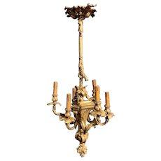 Stunning Gilt Bronze Six Light Chandelier Flowers Theme