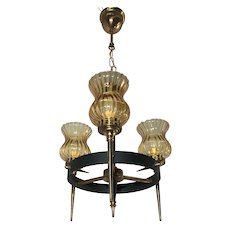 Vintage Metal and Brass Three Light Pendant / Fixture with Glass Shades