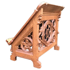 Antique Gothic Revival Oak Bible or Book Display Stand