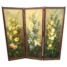 France Folding Screen with Painted Flowers on Linen in Walnut Frame