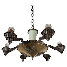 Early 1900 Art Deco Bronze Chandelier