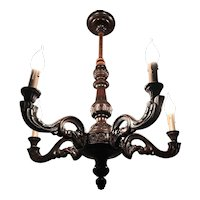 Handcrafted Wooden Great Patina Five-Arm Chandelier
