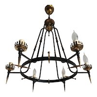 Italy Midcentury Metal and Brass Six Light Pendant / Chandelier
