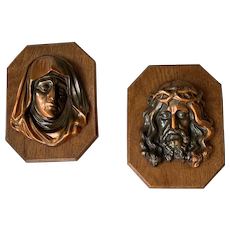 Pair Art Deco Period Christ and Maria Wall Plaque Sculptures