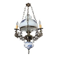 Beautiful Delfts Blue Opaline, Metal and Porcelain 4 light Chandelier