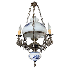 Beautiful Delfts Blue Opaline, Metal and Porcelain 4 light Chandelier