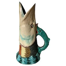 Antique Majolica Glazed Fish Pitcher / Jug