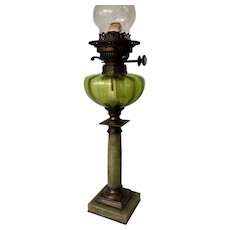 Antique Column Onyx, Bronze and Glass Table Oil Lamp
