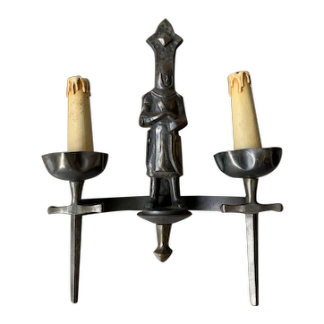 Pair Knight Sculptures Watchman Wall Sconces