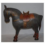 An Antique Decorative Matching Pair Painted / Carved Wood Horses