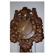 An Old Fine Carved Wood Figural / Nude Wall Clock, from circa 1920