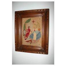A Lovely French Fine Needlework in a Wooden(oak) Frame