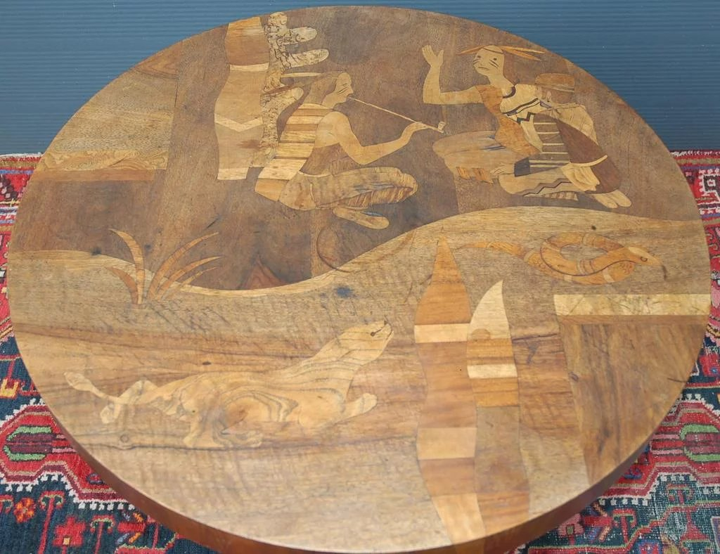 A rare antique marquetry inlaid wooden coffee table with for Valuable antiques and collectibles